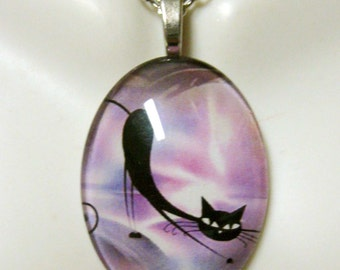 Stretching kitty in pink pendant and chain - CGP04-001
