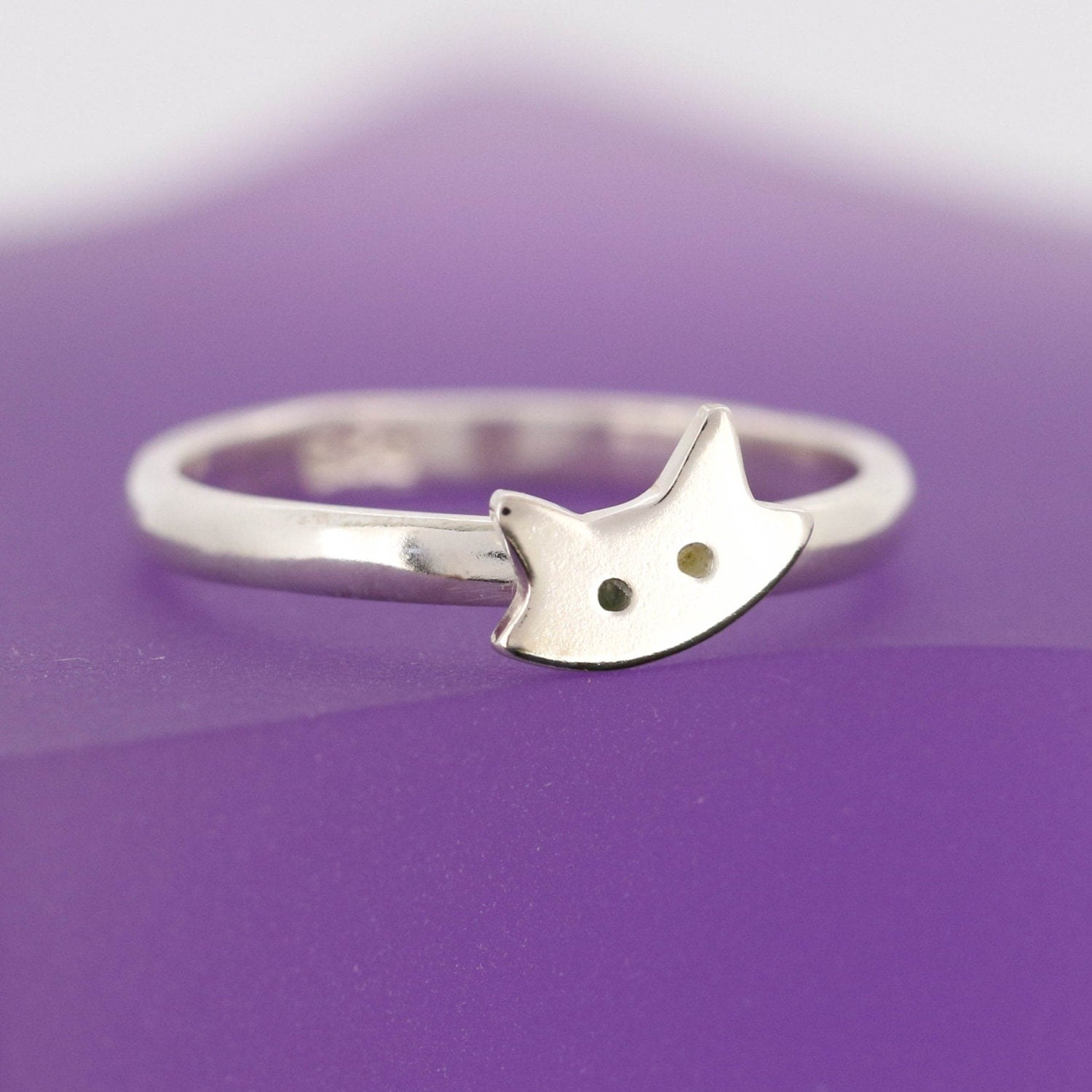 sterling silver cat ring stacking ring cat by