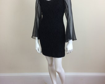 black stretch lace club wear minidress w/ dramatic sheer bell sleeves 90s