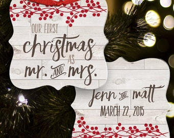 our first christmas as mr. & mrs. rustic personalized first christmas wedding ornament two -sided  FCMRO