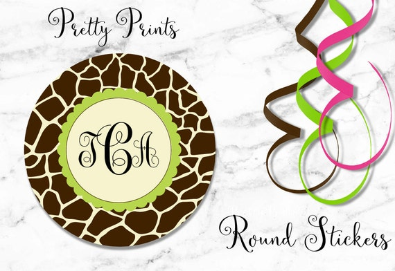 Giraffe Print Stickers - Giraffe, Brown, Green, Set of 12 Round Labels - Custom Labels -  Personalized Labels - Tags - School Stickers