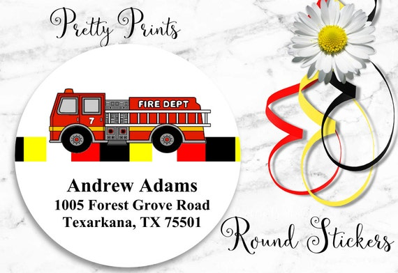 Fire Truck Stickers - Personalized Stickers - Set of 12 Round Labels - Custom Labels -Personalized Labels - School Stickers - Gift Tags