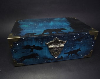 OOAK (one of a kind) animal spirits hand painted wooden trinket box