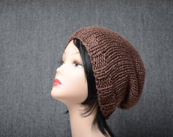 Slouchy hat Slouchy women beanie chocolate brown wool hat gift for her Modern beanie winter fashion Cozy knit cap Hair Accessories