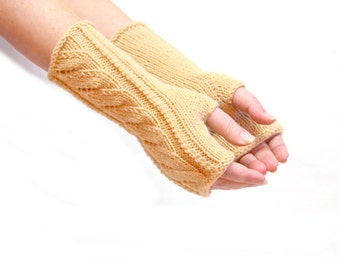 Knit arm warmers beige fingerless gloves long knit gloves boho arm warmers gift for her fingerless mitts