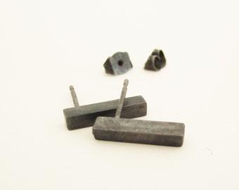 BLACK BAR SATIN - earrings, oxidized sterling silver studs