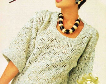 Lady's Square Neck Short Sleeve Sweater Pullover Jumper - Size 76 to 102 cm (30 to 40 inch) - Sirda DK 6753 - Vintage Retro Knitting Pattern