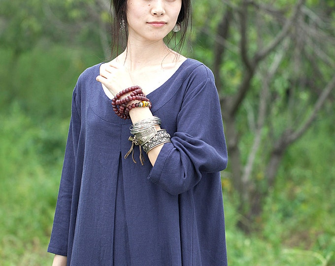 Women long sleeves dress - Dress autumn / spring - Round neck - Classic dress - Asymmetrical base - Linen dress - Made to order