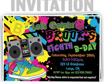 831: DIY - Awesome 80's Hip Hop Party Invitation Or Thank You Card