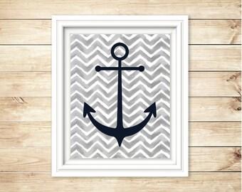 Grey and Navy Nautical Nursery Decor | Chevron Anchor