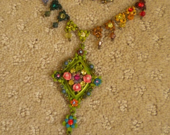 Vintage Victorian Inspired Enamel & Colorful Rhinestone Necklace/Victorian/Floral/Multi Rhinestone/Enamel