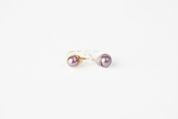 Lavender Pearl Ring - Lavender Pearl Wire Ring-Lavender Pearl Silver Wire Ring-Lavender Pearl Gold Wire Ring-Silver Wire Ring-Gold Wire Ring