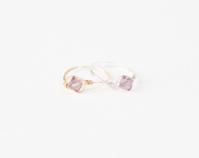 June Birthstone Ring - Swarovski Crystal Birthstone Ring - June Birthstone Crystal Bead Ring - Silver Birthstone Ring - Gold Birthstone Ring