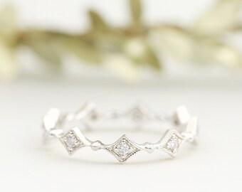 Platinum eternity diamond band, Eternity star diamond wedding band, unique eternity ring / 14k 18k white gold / Platinum pt950 sta-r102-dia