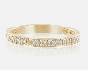 Unique wedding ring, diamond wedding band, 3/4 diamond eternity band, 2.3mm band, 14k gold, rose gold, white gold, pave diamond ring, w-r102