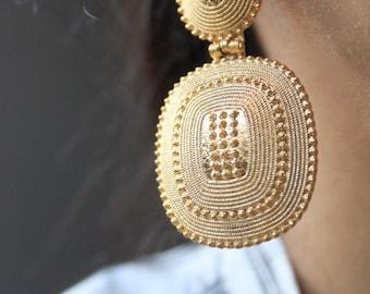 Gold Earrings/ Drop Earrings/Women Gold Earrings/Statement Gold Earrings/Tribal Gold Earrings/Gift For Her/Drop Gold Earrings