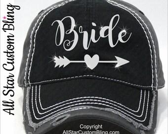 Glitter Bride Hat, Custom Bride Hat, Distressed Bride Baseball Hat