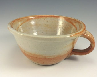 Stoneware Chowder Bowl in Shino  glazes pottery soup bowl with handle