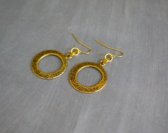Metal Earrings. Tribal Earrings. Hoop Earrings. Gold Metal Earrings. Jewelry. Gift Under 10 Dollar. Gift Idea For Her. Gipsy Earrings.