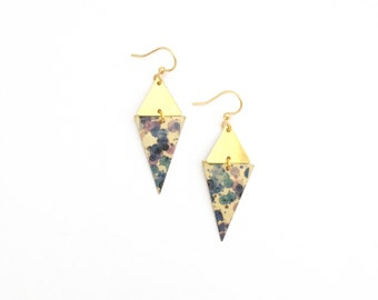 Watercolor blue and purple | Earrings Golden geometric large diamond - handmade