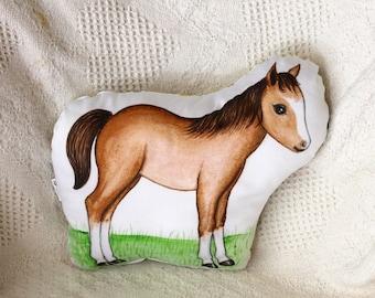 Animal pillow. Horse pillow. Farm nursery decor. Organic cotton baby pillow. Horse plush. Farm stuffed animal. Farm pillow decor. Kids gift