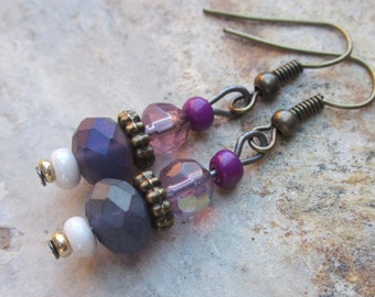 boho earrings purple earrings faceted glass bohemian earrings gypsy yoga country chic dangle drop earrings gift for her gift for wife