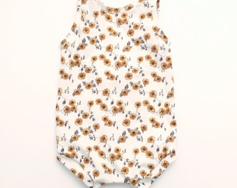 Sunsuit, sunflower, baby romper, baby girl romper