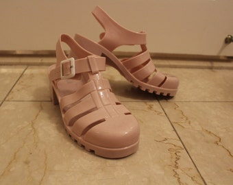 Heeled Blush/Light Pink Jelly Sandals Size 7