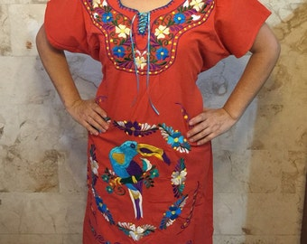 Beautiful hand embroidered Mexican dress with Colorful Flowers and a Tucan
