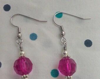 Pink Sphere Drop Earrings