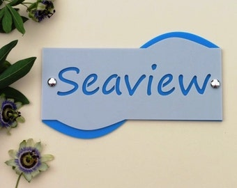 Modern House Sign. Wavey, two tone colour.  Nautical Seaside style.