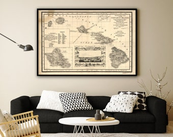 "1893 Hawaii Islands map, Vintage Hawaiian map reprint - 4 sizes up to 54""x36"" and 2 color choices"