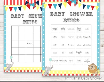 Baby Shower Games - Baby Shower Bingo - Circus Baby Shower - Circus Shower Games - Bingo Shower Games - Circus