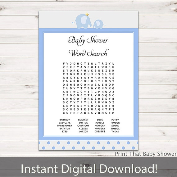 Baby Shower Games Baby Showerword Search Game Blue Elephant Baby