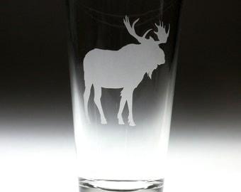 Custom personalized Elk Moose engraved glass , canada