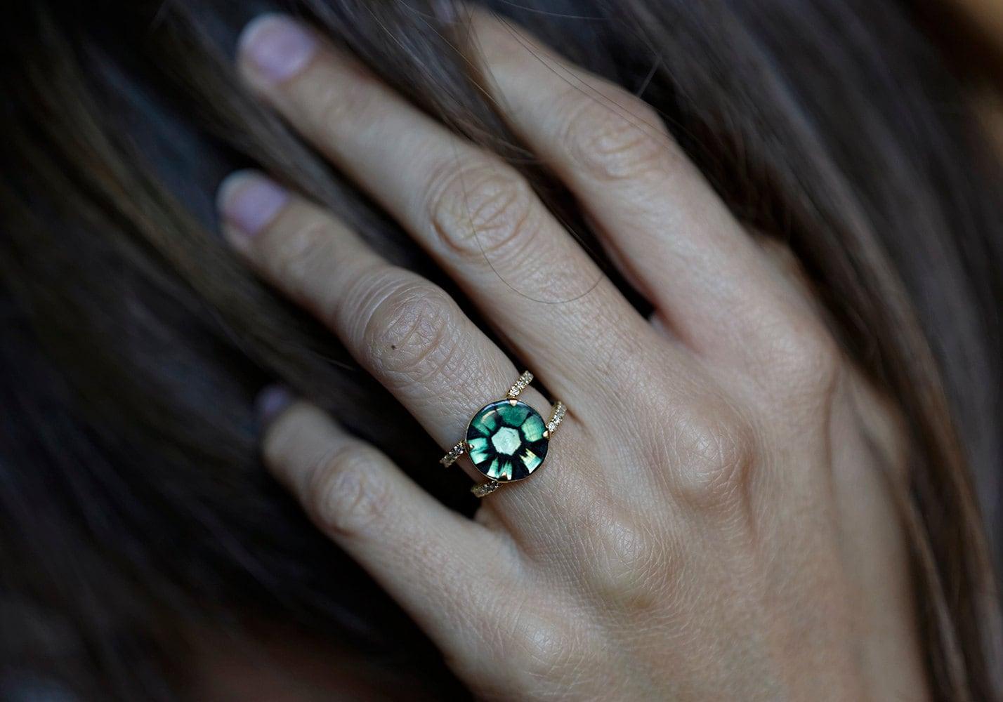 emerald engagement ring halo emerald ring trapiche emerald