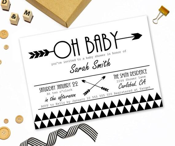 Modern baby shower invitation printabletribal arrow baby shower il570xn filmwisefo