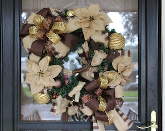 CLEARANCE, Christmas Wreath, Christmas Wreath with Reindeer, Winter Reindeer Wreath