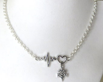 RN Nurse Medical Heartbeat Vital Sign Necklace YOU Choose Length and Chain Material