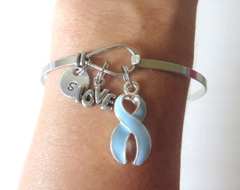 Light Blue Prostate Cancer LOVE HOPE Customizable Awareness Charm Stainless Steel Bangle Bracelet With Optional Love Hope and Letter Charm