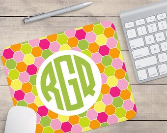 Pink, Green, Yellow and Orange Geometric Mouse pad, Custom Mouse pad, Patterned Mouse pad (0026)