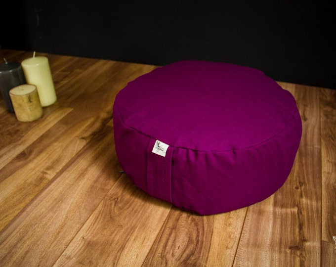Meditation cushion pouf zafu Grape Plain cotton organic Buckwheat pillow washable with lining - handmade by Creations Mariposa ZP-RU