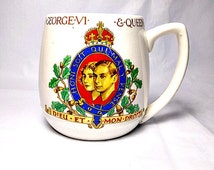 King George VI Queen Elizabeth 1937 Coronation Mug Made in England Pottery Manufacturers Federation British Royal Memorabilia The Thirties