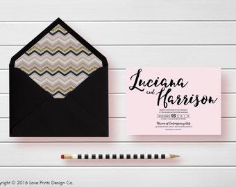 Brush Script, Wedding Invitation, PRINTABLE Wedding Invitation, RSVP Postcard, Monogram, Bellyband, Invitation Suite