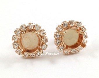 Rose Gold Earrings Base Settings 8mm ss39 Clear Crystal Rhinestones Stud Earrings 1 Pair