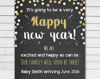 New Year pregnancy announcement Christmas pregnancy announcement Chalkbaord holiday pregnancy announcement card Christmas PRINTABLE