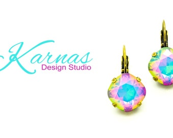 WHITE OPAL ELECTRA 12mm Cushion Cut Earrings Made With Swarovski Crystal *Pick Your Finish *Karnas Design Studio *Free Shipping*