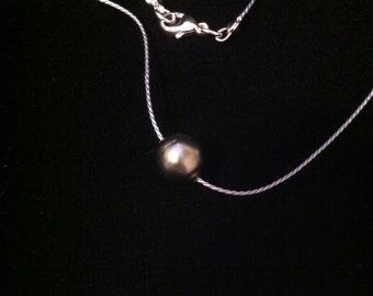 AA Tahitian Pearl On Silk Necklace