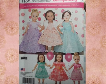 """Simplicity 18"""" American Girl Doll Party Dress Pattern 1135"""