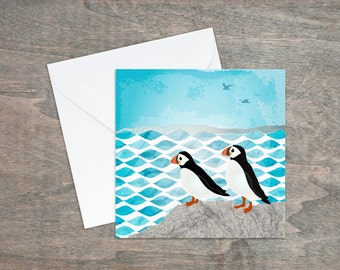Puffin card - coastal art - cute birthday card - puffin rock - wild birds - blank card - thank you card